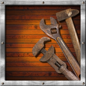 rusty tools on wood